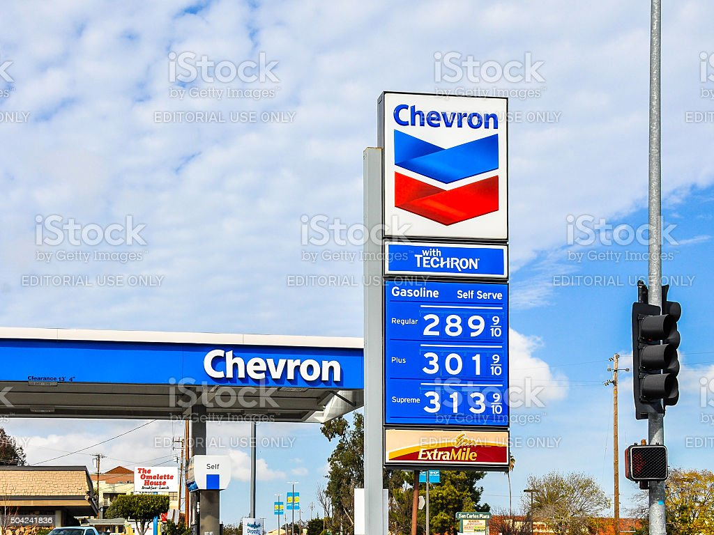 Chevron Gas Station, San Carlos, CA stock photo
