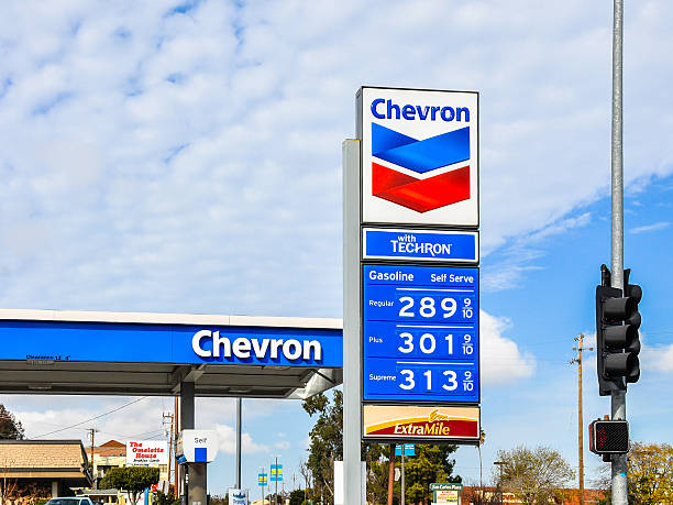 chevron gas station, san carlos, ca - chevron stock photos and pictures