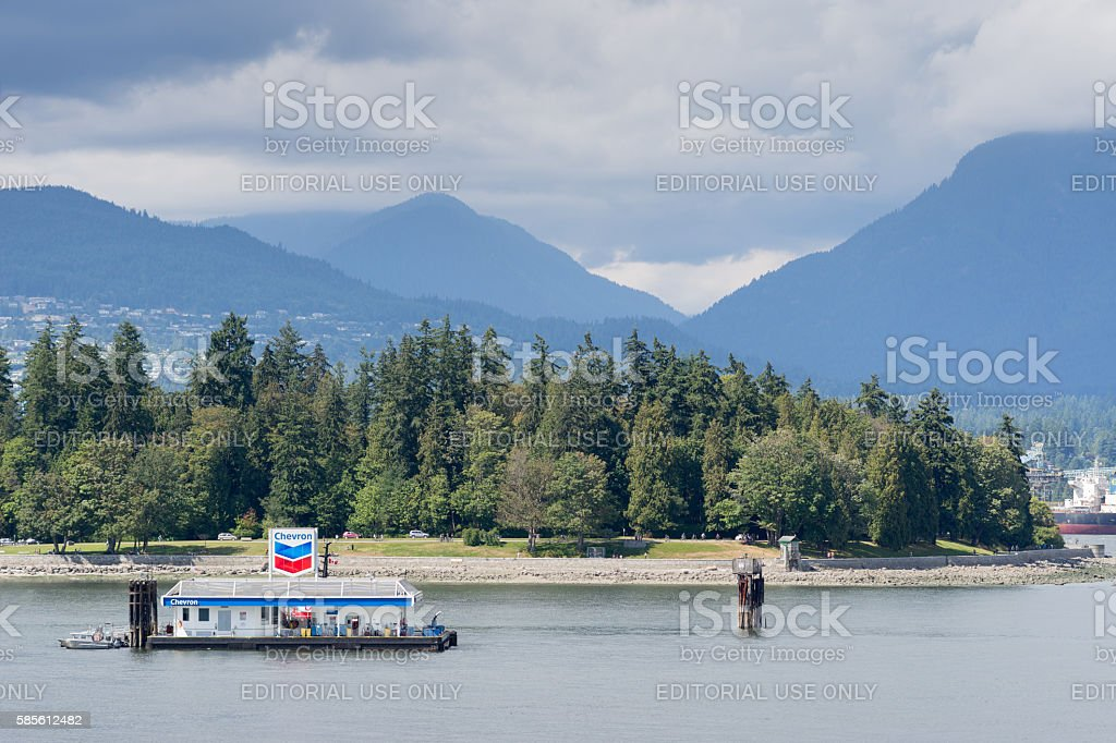 Chevron island fueling station in Vancouver harbor. stock photo