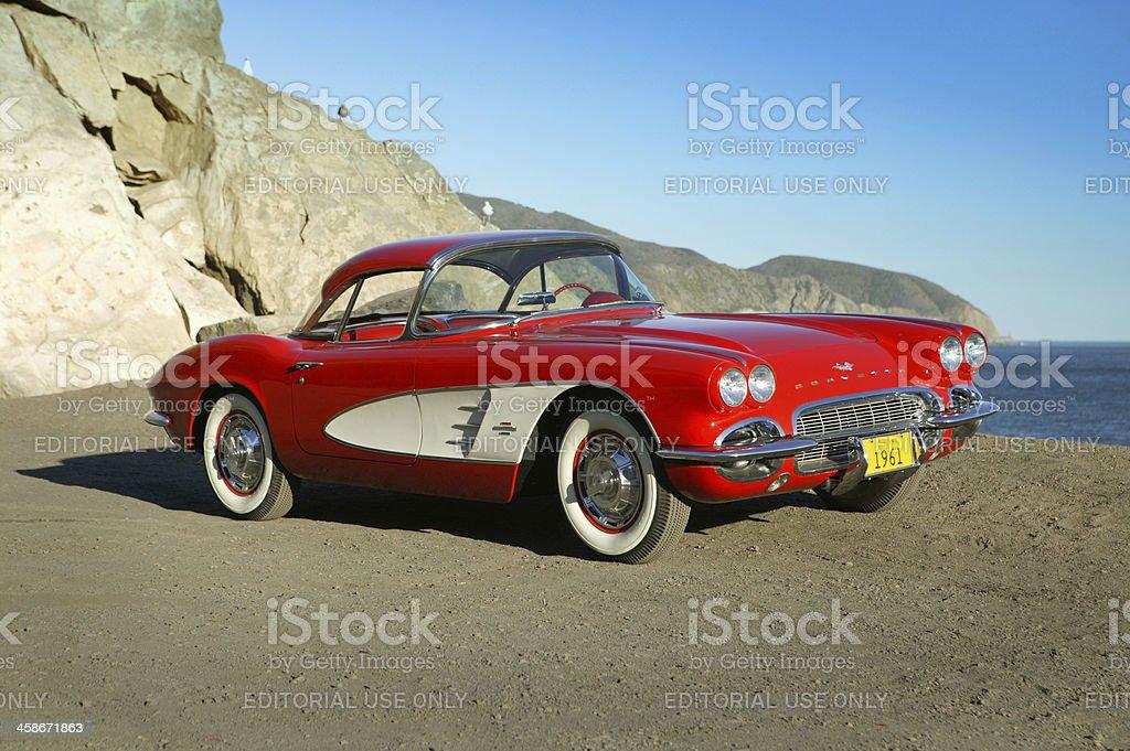 Chevy Corvette, 1961 at the beach stock photo