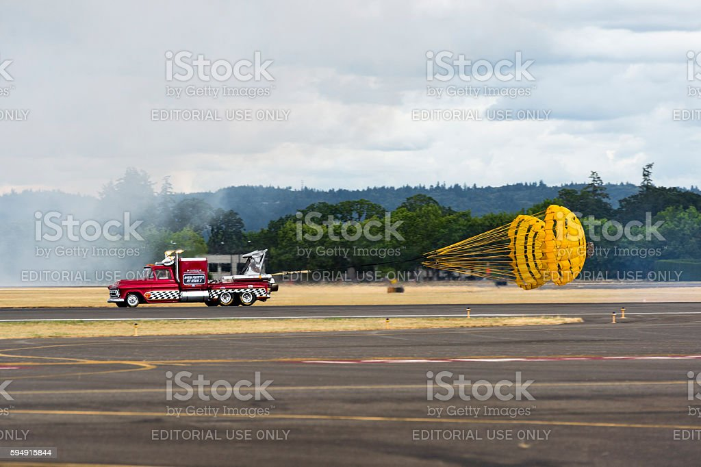 57' Chevy Jet Truck Drag Parachutes Air Show Hillsboro Oregon stock photo