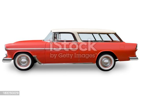An original 1955 Chevrolet Nomad wagon. Clipping Path.  All logos removed.