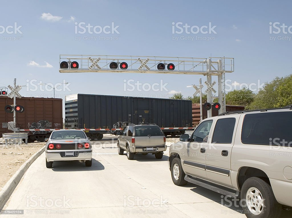 Chevys at Railroad Crossing stock photo