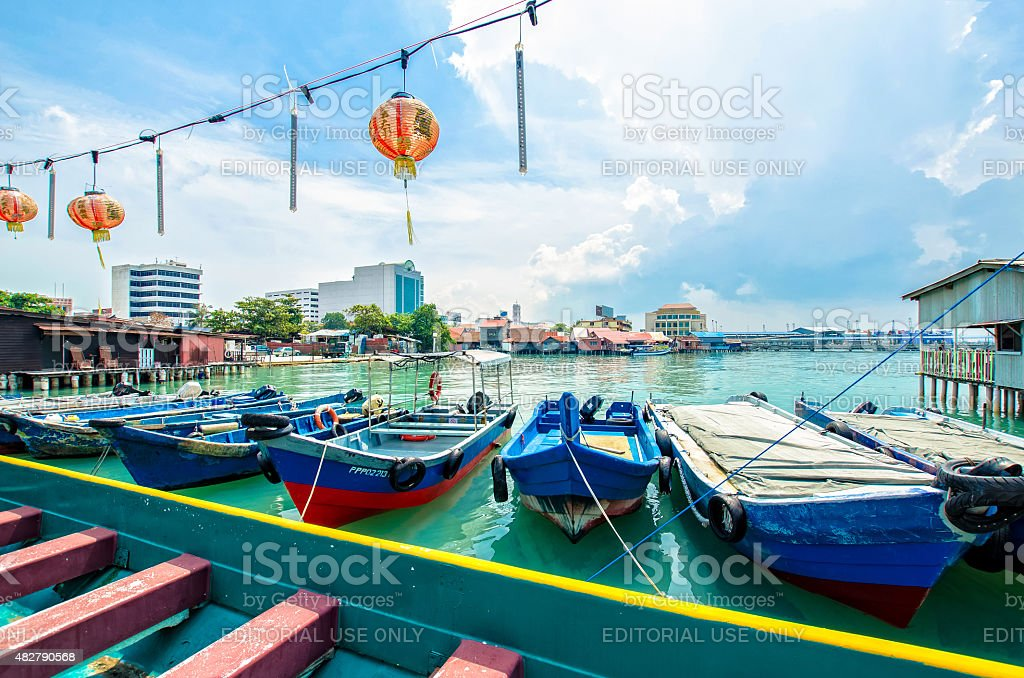Chew Jetty is UNESCO World Heritage Site in Penang. stock photo
