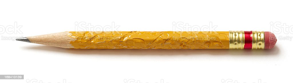 chewed pencil with worn eraser stock photo