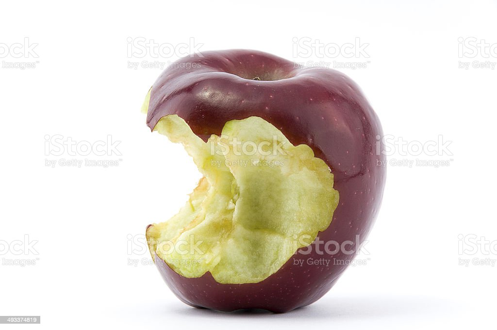 Chewed red apple stock photo