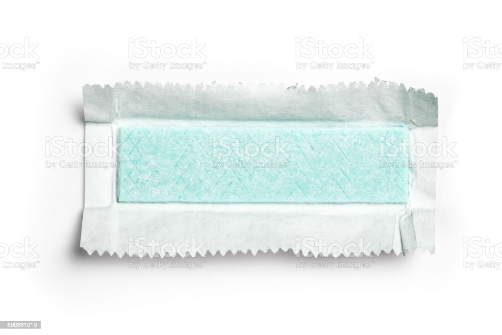 Chewing gum plate wrapped in foil isolated on white background stock photo