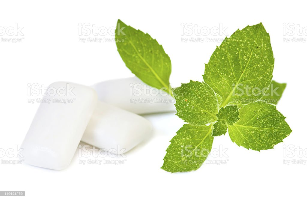 Chewing gym and fresh leaves of mint stock photo