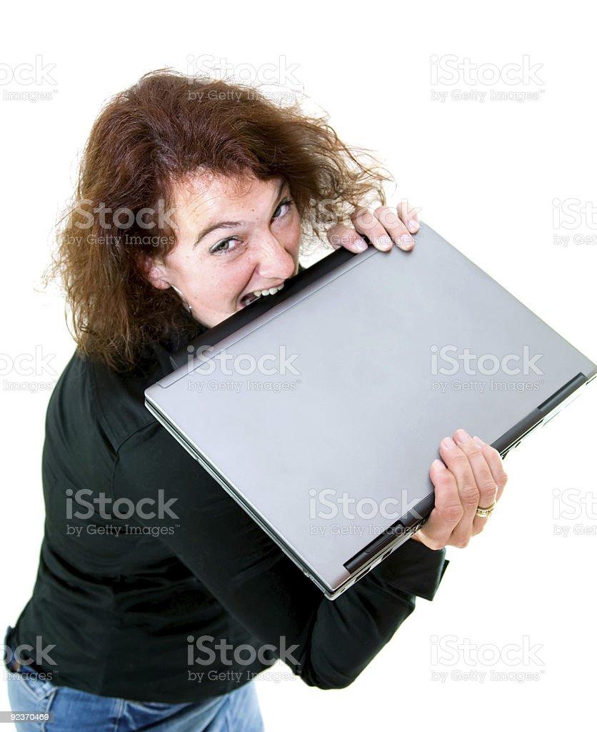 Kauen auf Ihrem laptop. Lizenzfreies stock-foto
