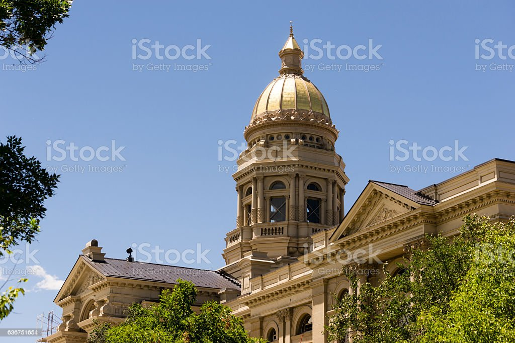 Cheyenne Wyoming Capital City Downtown Capitol Building Legislature stock photo