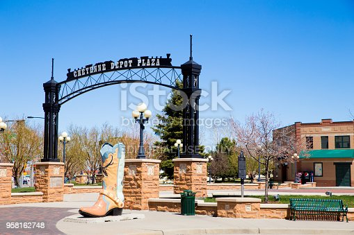 CHEYENNE, WYOMING, USE - APRIL 27, 2018: View of historic downtown Cheyenne Wyoming with boot sculpture.Cheyenne, Wyoming, USA - April  27, 2018: View of historic downtown Cheyenne Wyoming with boot sculpture.