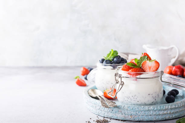 Chia Pudding for breakfast stock photo