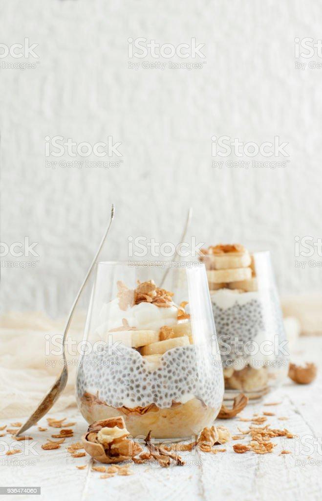 Chia pudding parfait with banana stock photo