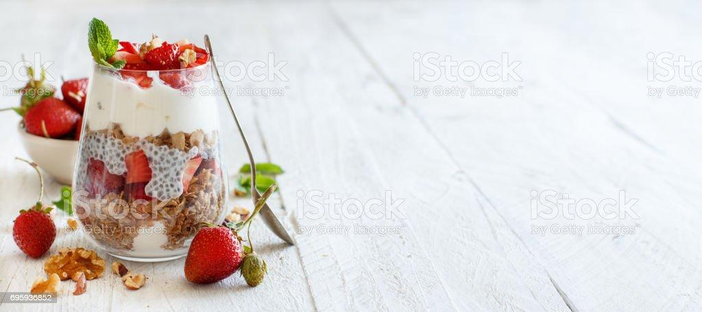 Chia pudding Strawberry parfait stock photo