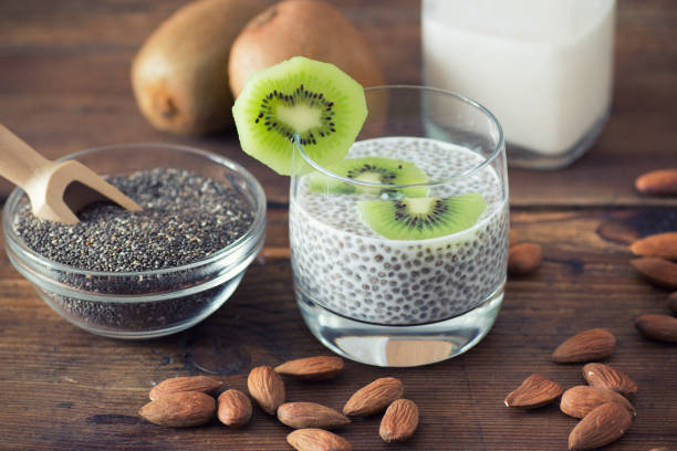 chia seed pudding - chia seed stock photos and pictures