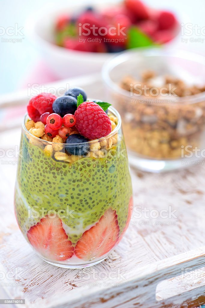 Chia Seed Pudding with Berries stock photo