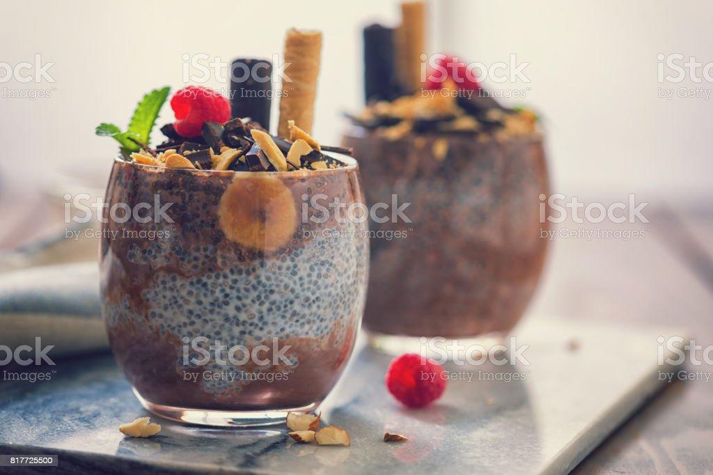 Chia Seed Pudding With Chocolate and Bananas stock photo