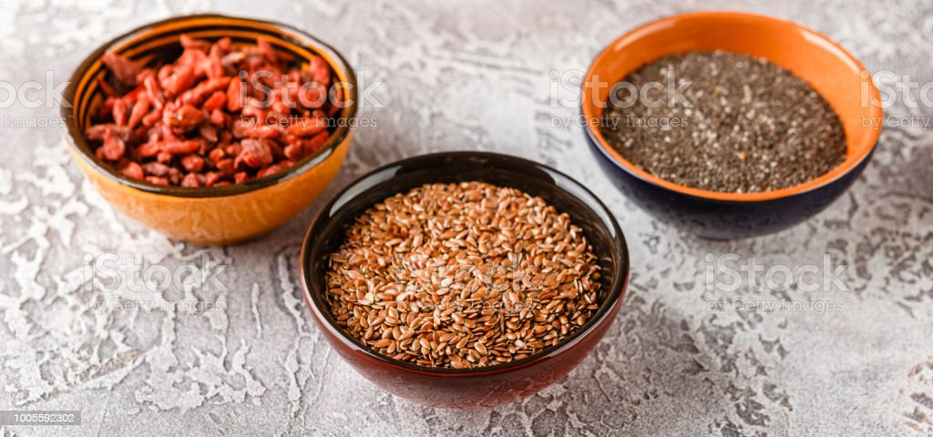 Chia Seeds Flax Seeds And Goji Berries Stock Photo Download