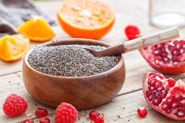 Chia seeds in a bowl stock photo