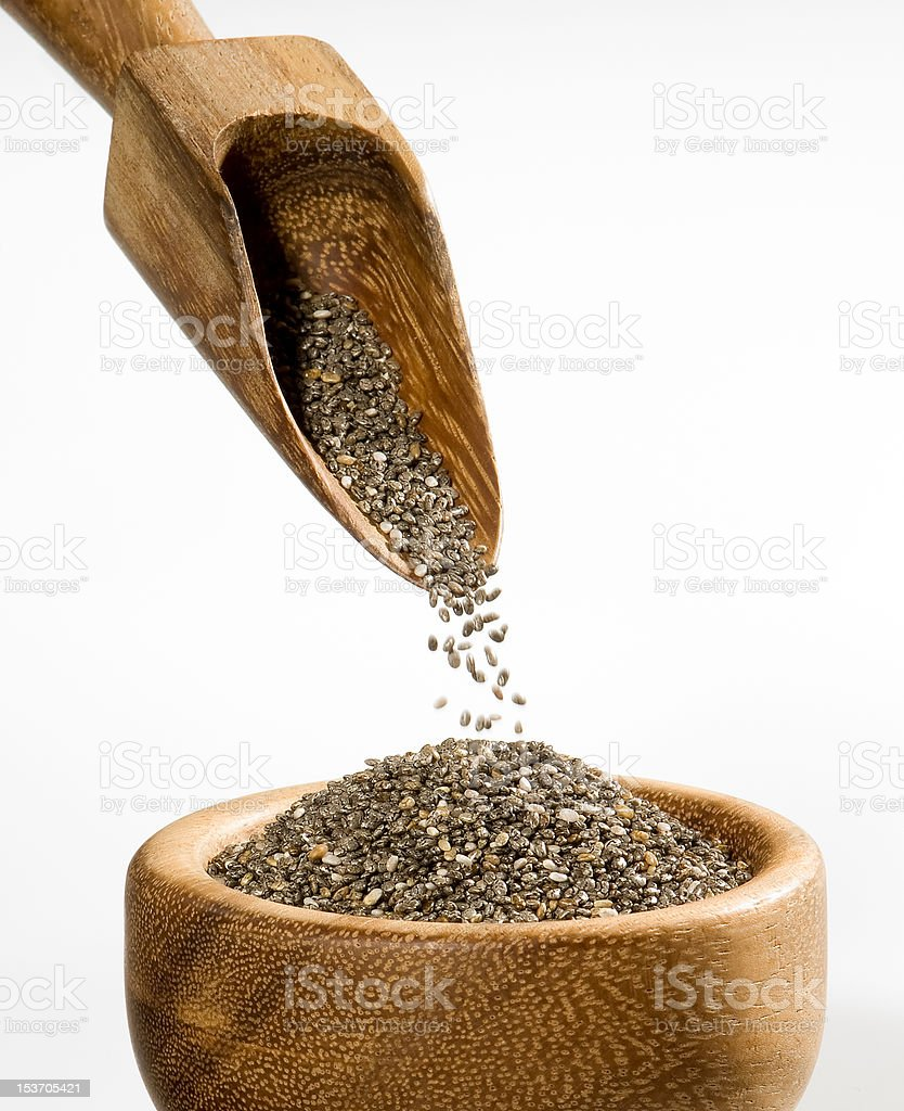 Chia seeds in a bowl with scoop royalty-free stock photo