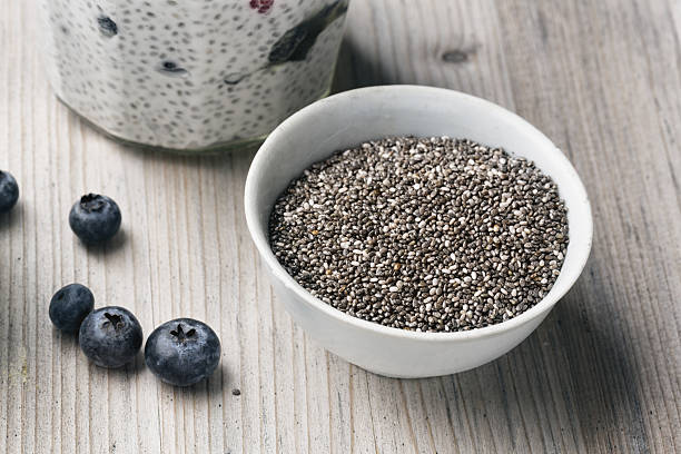 Chia Seeds in a white bowl stock photo