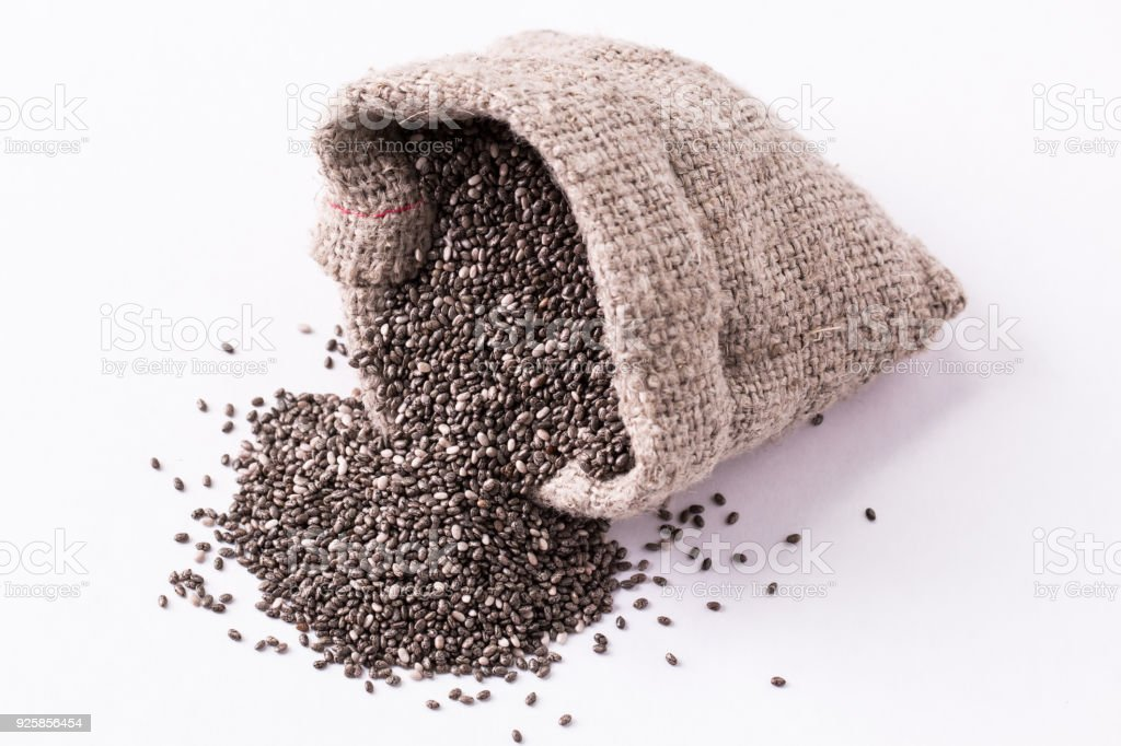Chia seeds on wood background. Chia seeds protect heart,superfood. Healthy food stock photo