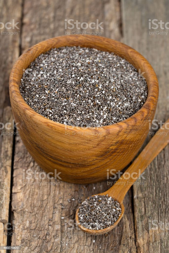 chia Samen auf Holz Oberfläche Lizenzfreies stock-foto
