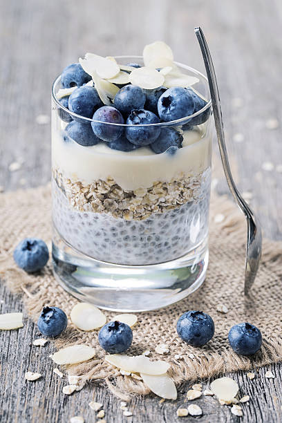 chia seeds pudding - chia seed stock photos and pictures