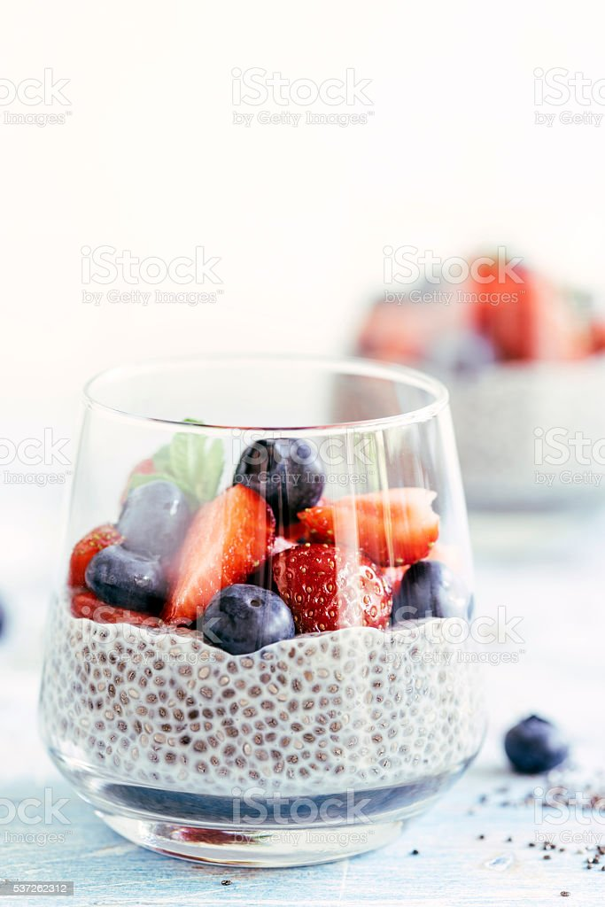 Chia seeds pudding stock photo