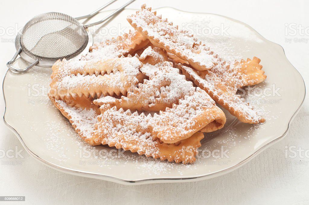 Chiacchere, typical Italian pastry used during the carnival stock photo
