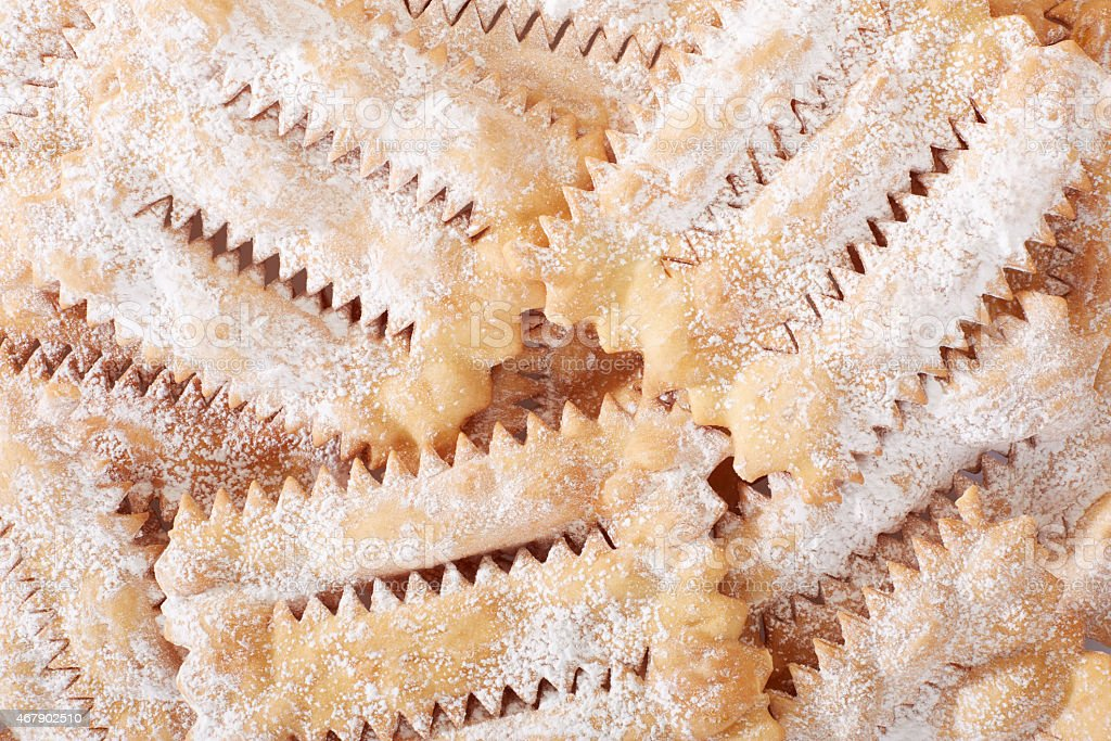 Chiacchiere, italian Carnival pastry background stock photo