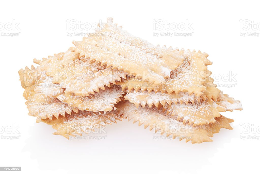 Chiacchiere, italian Carnival pastry heap stock photo