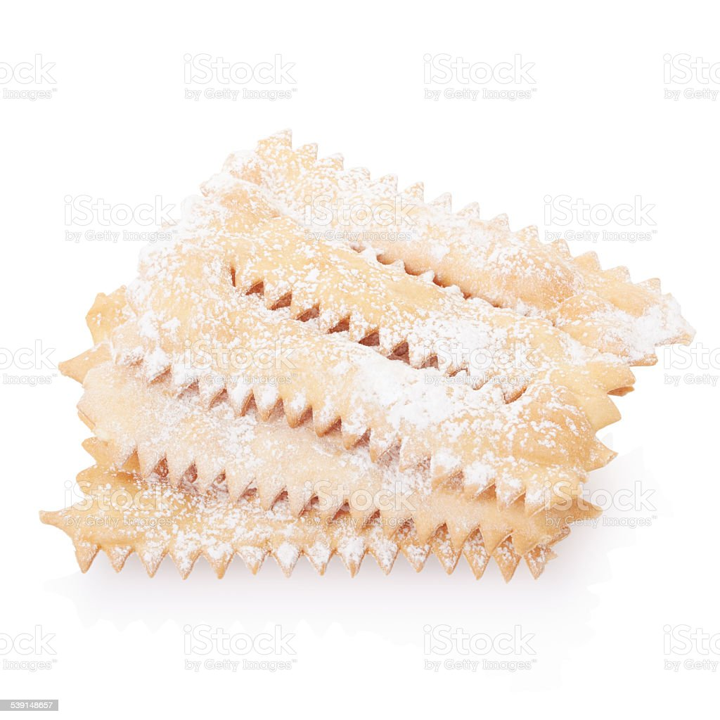 Chiacchiere, italian Carnival pastry on white stock photo