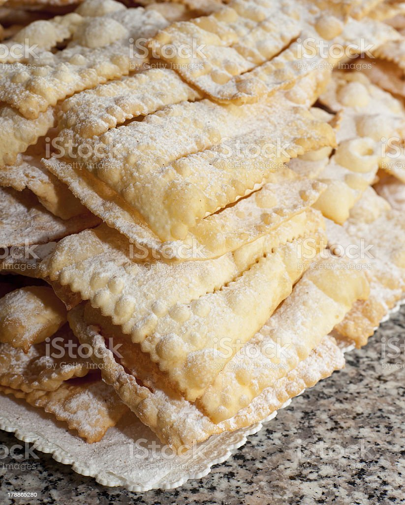 Chiacchiere or frappe italian cake royalty-free stock photo