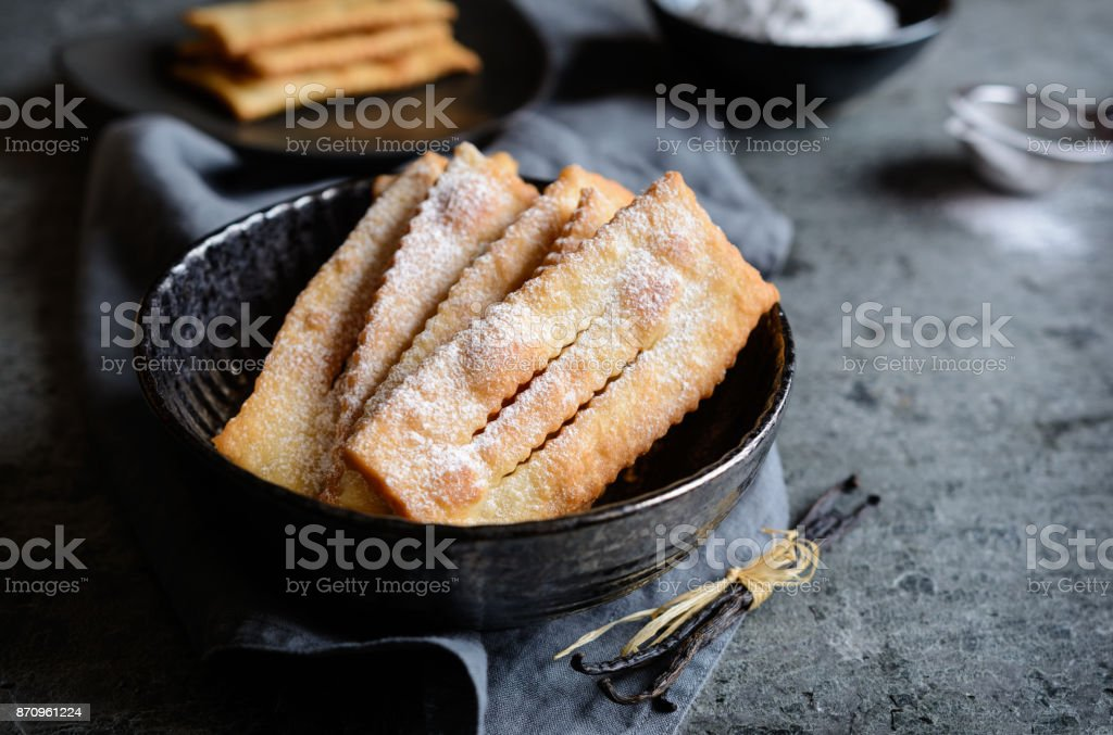 Chiacchiere - traditional Italian carnival pastry stock photo