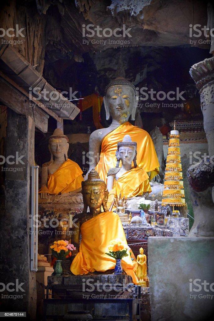 Chiang Dao cave Buddha statues stock photo