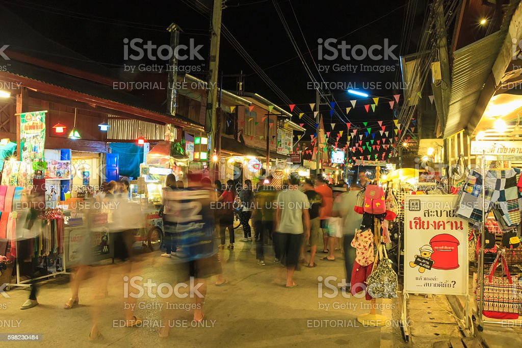 Chiang Khan's walking street foto royalty-free