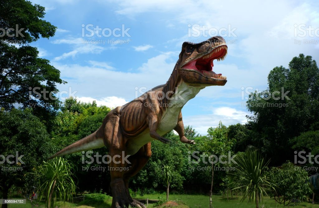 Chiang Mai, Thailand - 20/08/2017: Dinosaur model at hidden village park in Chiang Mai, Thailand. stock photo
