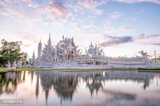 Wat Rong Kun better known to foreigners as the White Temple,Famous landmark for tourist,Buddhist temple in Chiang Rai Province, Thailand