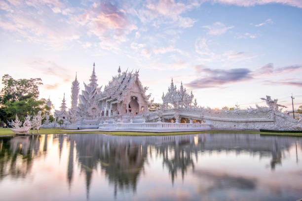Chiang Rai Wat Rong Kun better known to foreigners as the White Temple,Famous landmark for tourist,Buddhist temple in Chiang Rai Province, Thailand stock photo