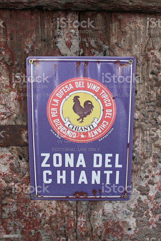 Monteriggioni (Siena, Italy) - October 12, 2014: Chianti area sign stock photo