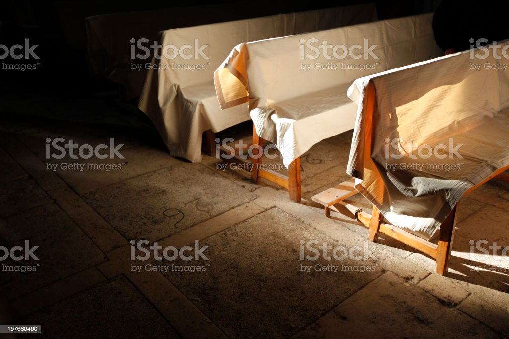 chiaroscuro in the church stock photo