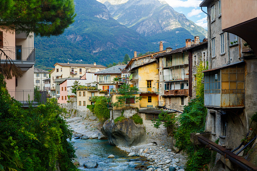 Chiavenna, Sondrio, Lombardia, Italy September 16, 2019. Mera river in Chiavenna, a small town on lake Como, Italy