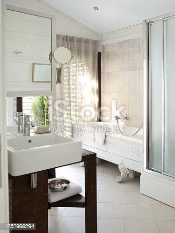 Bathtub in modern bathroom.