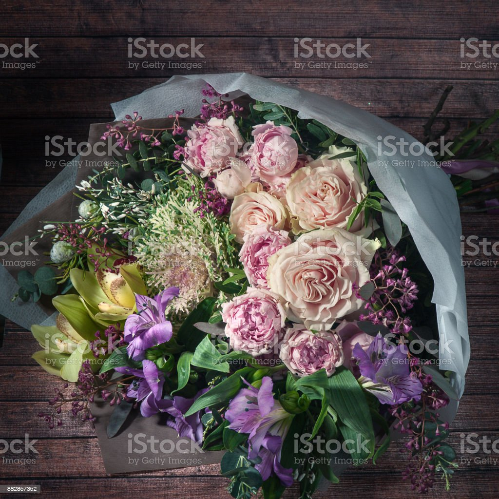 Chic bouquet of flowers, roses, astromelia, peony roses,  greeting, postcard toned – zdjęcie