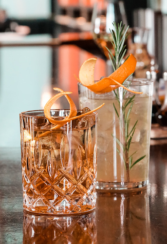 Variety of chic Cocktail classics on bar counter