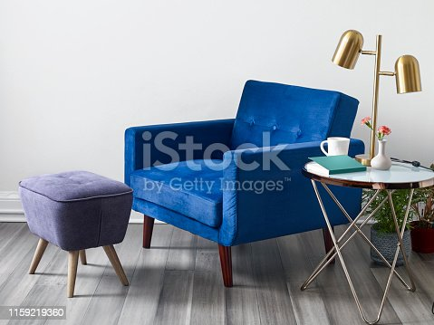 Mid modern style armchair and ottoman