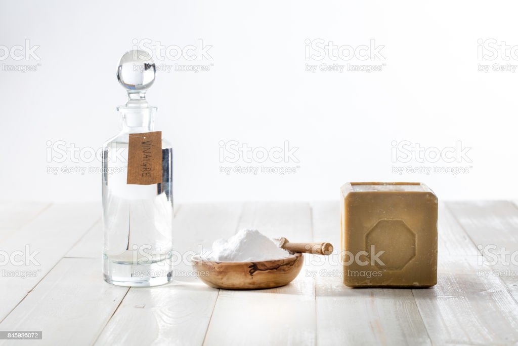 chic homemade cleaner with vinegar and baking soda, copy space stock photo