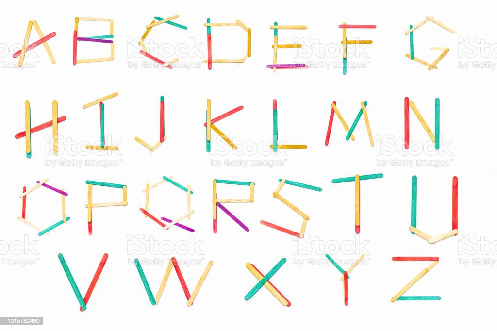Chic letters are made of colorful wood. stock photo