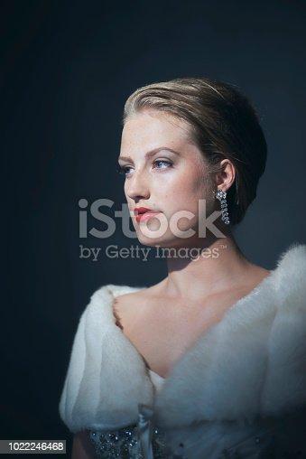 Chic retro 1950s woman in white fur scarf.